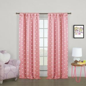 Viv and Rae Pink Polka Dot Heart Curtains